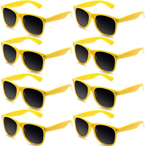 FSMILING Neon Farben Party Gefälligkeiten Herzform Sonnenbrille Set für Kinder Erwachsene (8 Stück Gelb)