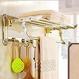 Olici MDRW-Accessoires De Salle De Bain Support De Serviette Badezimmer Handtuchhalter Im Europäischen Stil Edelstahl Double-Layer-Faltung Handtuchhalter Golden