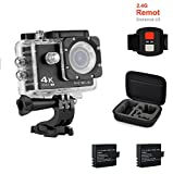 Jindia 4K Action Kamera, 16MP Ultra HD Helm Cam Wasserdicht bis 30m 2.0 Zoll Display mit 2.4G...