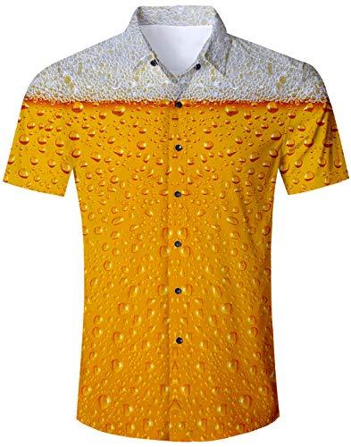 Loveternal Hawai Hemd Männer Kurzarm Hemd Bier Hawaiianhemd Sommer 3D Bunte Hemden Funky Beach Shirt Vintage Kleidung Herren XL (Sommer-bier)