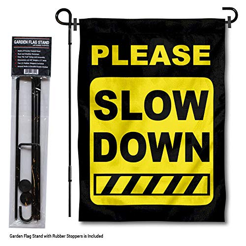 College Flags and Banners Co. Please Slow Down Speeding Schild Gartenflagge mit Stangenhalter (Outdoor Decorative Flag Pole)