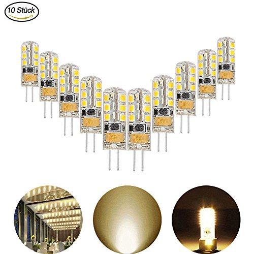 AveyLum 2.5W G4 LED Lampen Warmweiß, Ersatz für 20W Halogenlampen, 180lm, 3000K, 2835 SMD Kieselgel LED Dekorative Kronleuchter Beleuchtung, LED Birnen, LED Leuchtmittel, AC/DC 12V, 10er Pack (W 20 Bi-pin-sockel)