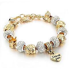 Idea Regalo - Bracciale donna e ragazza con beads placcato argento con zirconi - componibile, misura regolabile, compatibile pandora - massima brillantezza, alta qualità - Luxury Gold