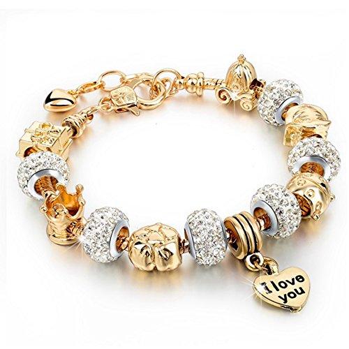 Bracciale donna e ragazza con beads placcato argento con zirconi - componibile, misura regolabile, compatibile pandora - massima brillantezza, alta qualità - luxury gold