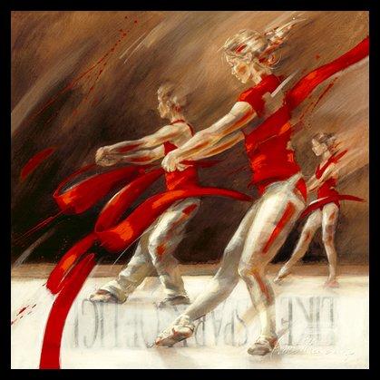 Germanposters Kitty Meijering Dancing Ribbons Poster Kunstdruck Bild im Alu Rahmen in schwarz 36x36cm