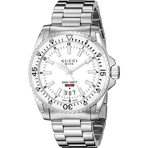 Gucci Dive Montre pour homme Bracelet Acier Quartz Suisse 40mm YA136302