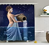 JIEKEIO Astrology Decorations Shower Curtain Set, Aquarius Lady with Pail in The Sea Water Signs Saturn Mystry at Night Stars, Bathroom Accessories, 60 * 72inchs Long, Blue Dark Blue