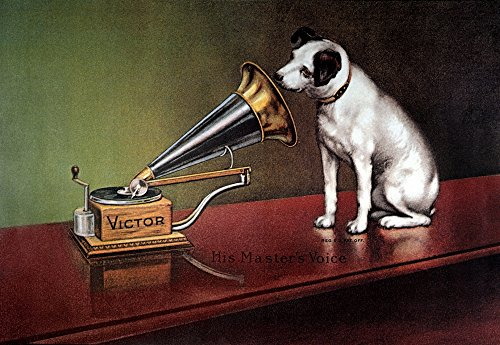 RCA Victor Trademark. /N'His Master's Voice.' Trademark Image of RCA Victor Featuring Nipper The Dog. American Lithograph Poster C1920. Kunstdruck (60,96 x 91,44 cm) (Dog Rca Victor)