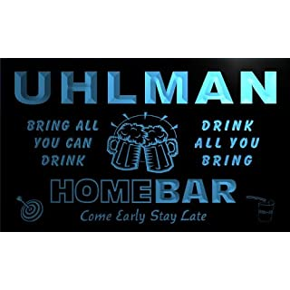 q46019-b UHLMAN Family Name Home Bar Beer Mug Cheers Neon Light Sign