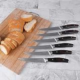 Deeplee AKZIM 6-teilig Steakmesser Set, 23 cm Edelstahl Steakmesser mit Ergonomischem Griff und Fein Gezahnte,Geschenkbox - 4