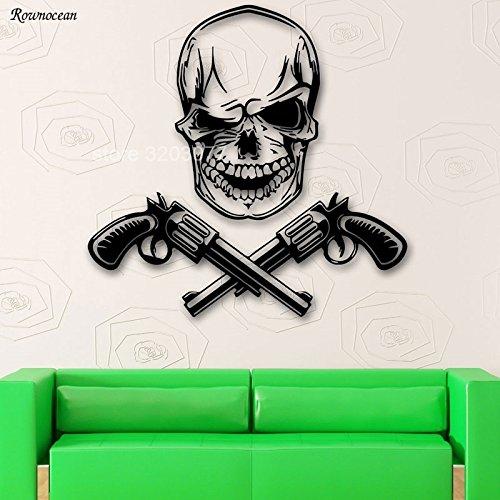 jiushizq Revolver Gun Totenkopf Mafia Poster Wohnkultur Wandaufkleber Vinyl Skeleton Decals Wohnzimmer Jungen Schlafzimmer Removable 42x41 cm -