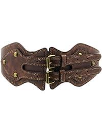 BONAMART ® Schöne Breiter Elastischer Gürtel PU Leder Belt Waistband Taillengürtel mit nieten Nietengürtel für Damen