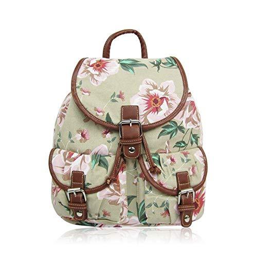Retro Punkte | Rucksack Blumen Dot Canvas | Vintage Daypack Tasche Groß | Polka Dots Damen | Beige