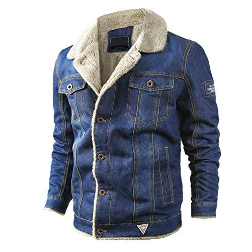 Brinny Sherpa Trucker Denim Jeansjacke Wintermantel Winterjacke Warme Herren Jacke Jeans Gefüttert Teddyfell Fellkragen Cowboy Dunkelblau/Hellblau (Cowboy Jeans)