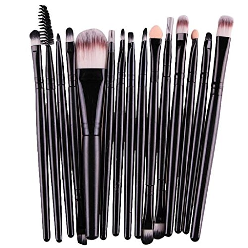 Tonsee 15 pièces / Set Eye Shadow Foundation Sourcils Lip Brush pinceaux de maquillage outils (Noir 3)