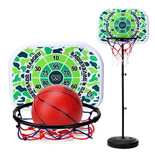 TETAKE Basketballkorb Kinder, 73-200cm Höhenverstellbar Basketballkorb mit Ständer, Tragbar Basketballständer Kinder Einstellbare, mit Ball und Inflator