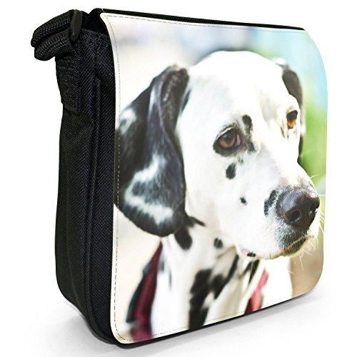 Dalmata Cane Piccolo Nero Tela Borsa a tracolla, taglia S Portrait Of A Dalmatian Dog