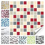 Wandora 1 Set Fliesenaufkleber 25,3 x 25,3 cm rot beige Taupe Design 30 I 3D Mosaik Fliesenfolie Küche Bad Aufkleber W1536