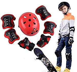 Children's Sports Skateboard Skate Protective Gear Safety Pad Safeguard (Head Knee Elbow Wrist) Support Pad Set Equipment for Kids Youth (Set of 7 Pcs)
