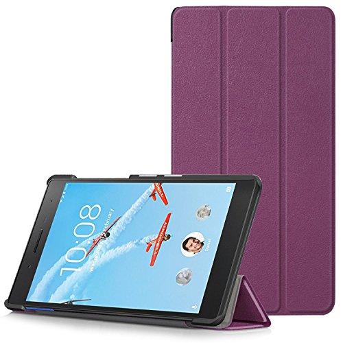Lenovo Tab 7 Essential Hülle - Ultra Dünn und Leicht PU Leder Schutzhülle mit Standfunktion für Lenovo Tab 7 Essential 17,78 cm (7 Zoll) Tablet-PC, Violett (Nicht für Lenovo Tab3 7 Essential)