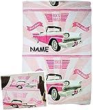 alles-meine.de GmbH Fleecedecke / Kuscheldecke -  Pink Cabrio / Rock Road - Auto  - Incl. Name -..