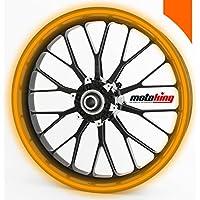"""Adhesivos Motoking para llantas 360 °, 6 mm de ancho, naranja reflectante/rueda completa/desde 15"""" hasta 18""""/color y ancho opcionales"""