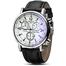 Amsion Marea lujo Blue Ray cuero de imitación de cuarzo analógico reloj de las hombre (negro y blanco)