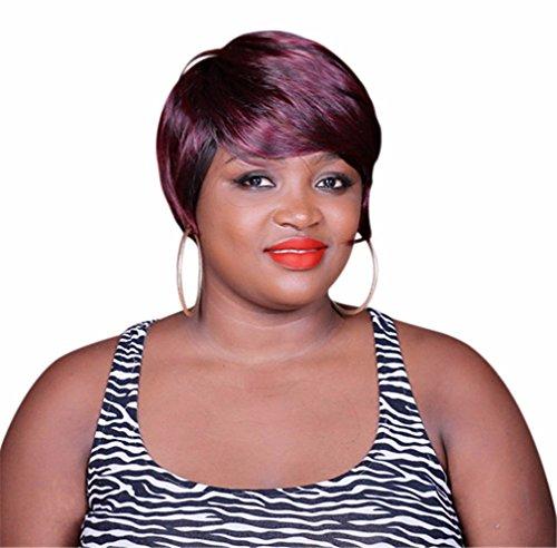 A.Monamour Vin Rouge Court Mélange Noir Droite Couches Cheveux Synthétiques Perruque Complète Des Femmes