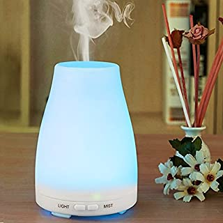 Aroma Diffuser 100ML Essential oil Diffuser Electric Ultrasonic Humidifier Aromatherapy Cool Mist Humidifier Air Purifier with 7 Color LED Lights Waterless Auto off Air Purifiers (Blue)