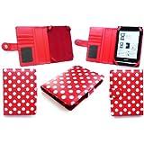 Emartbuy Sony Prs-T1-Tupfen Rot / Weiß Tasche Hülle Tasche Für Sony Prs-T1 Ereader 2011 + Display Schutzfolie