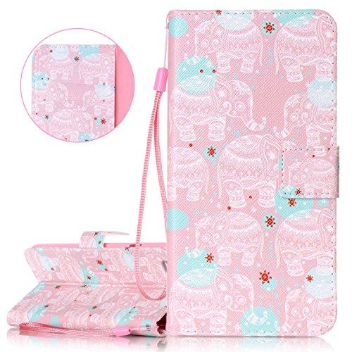 Custodia iPhone 6 Plus, Cover iPhone 6S Plus, ISAKEN Flip Cover per Apple iPhone 6 Plus(5.5), Elegante borsa Bookstyle Design Flip Caso in Sintetica Ecopelle PU Pelle Protettiva Portafoglio Wallet Ca Rosa elefanti