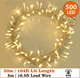 Fairy Lights 500 LED Warm White Outdoor Christmas Tree Lights String Lights - 8 Functions 50m / 164ft Power/Mains Operated Ideal for Christmas Tree Festive Wedding Birthday Party & Bedroom Decorations Indoor & Outdoor use