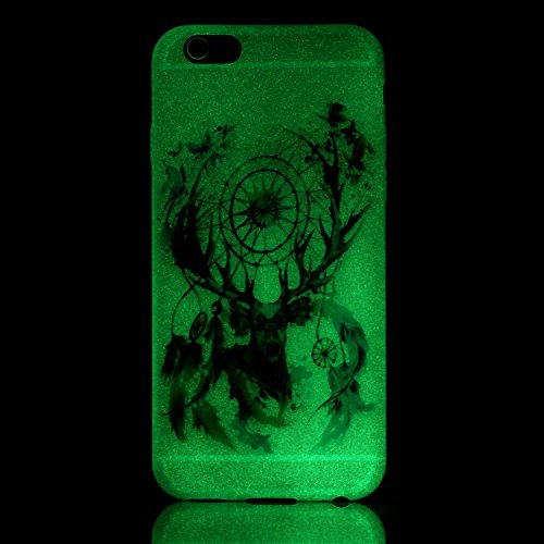 Felfy Silikon Case für iPhone 6 Hülle,iPhone 6S Luminous Cover Ultra Dünne Slim Silikon Etui Handy Hülle Weiche Transparente Luminous Gel TPU Back Case Leuchten In Der Nacht - Felfy Farbe Muster Schut Campanula