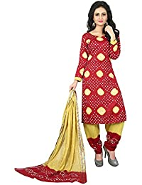 Taboody Empire Elbow Red Satin Cotton Handi Crafts Bandhani Work With Straight Salwar Suit For Girls And Women