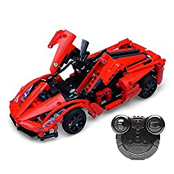 JW-MZPT Assembled Building Blocks Remote Control Car Red Technology Sports Car Children's Educational Toys Birthday Gift