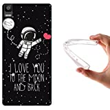 WoowCase - Funda Gel Flexible { bq Aquaris E5 4G } Astronauta Corazón - I Love To the Moon And Back Carcasa Case Silicona TPU Suave