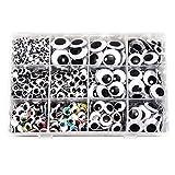 TOAOB 2460 Stück Selbstklebende Wackelaugen 5 bis 25mm Mix Rund Oval Verschiedene Größen mit...