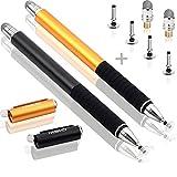 MEKO (die meisten Responsive Stylus Pens) 2 Stück 2 in 1 Kapazitive Precision Disc Eingabestifte mit 4 Ersatz Disc Tipps, 2 Ersatz-Faser-Tipps für alle Touch-Screen-Smartphones & Tablets (Schwarz / Gold)