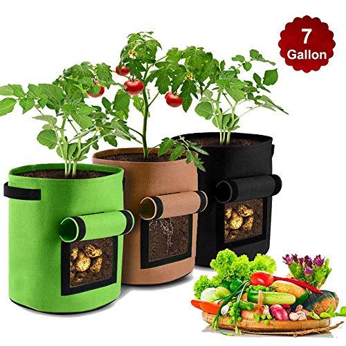 HomeYoo 3 Stück Kartoffel pflanzbeutel, Pflanztasche Pflanze Wachsende Tasche, 7 Gallons Grow Bag Garten Übertopf Vliesstoff Pflanzsack mit Griffe für Kartoffeln, Tomaten (Grün Braun Schwarz)