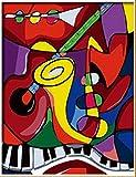 DIY steuern Dekor digitalen Leinwand Ölgemälde von Nummer Kits weltweit berühmte Ölgemälde Abstrakte Musik von Picasso 16 * 20 Zoll.