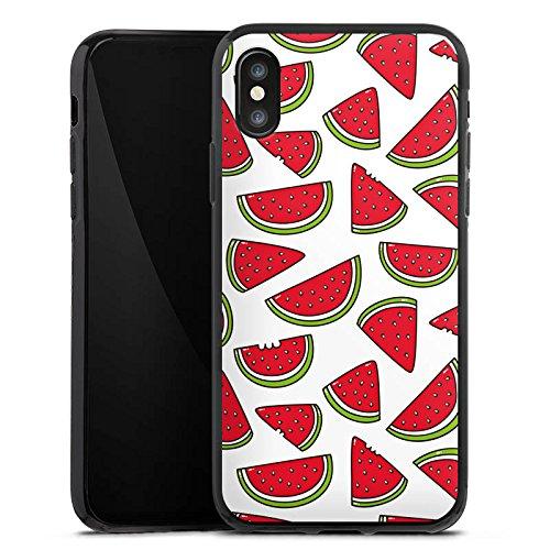 Apple iPhone X Silikon Hülle Case Schutzhülle Melone Sommer Essen Silikon Case schwarz