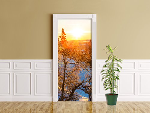 Türaufkleber - Gefrorene Bäume - 90 x 200 cm - selbstklebend - Türpanel - Aufkleber - Türbild - Tür - Bild - Foto - Tapete - Türtapete - Türposter - Türfolie - Türklebefolie - Bild für Tür (Kiefern-aufkleber)