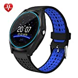 Xwly-Ft V9 Smart Watch Unabhängige SIM-Karte Sport Schritt Kamera HD Photo Call Herzfrequenz-Monitor Bluetooth MP3/MP4 Playback-Informationen Push Android/Ios,Blue