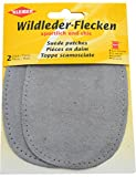 Kleiber 12 x 10 cm Ovale Flicken aus Velours-Leder, 1 Paar, grau