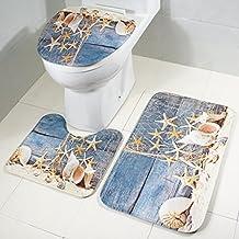 Bad Matte Satz 3 Sockel Mat Badematte Und WC Deckel, Badematten Set 3tlg,  Toilettenmatte Set, Moon Mood® 3   Teilig Badgarnitur Badematte  Rutschfester ...