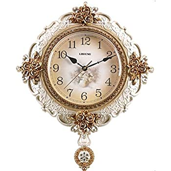 Large Ornate Hand Painted Cream Amp Gold Pendulum Wall Clock