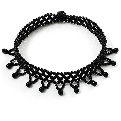 l Kleid Rollkragen Flex Perlenkette Kropfband Gothic (Halloween Rollkragen)