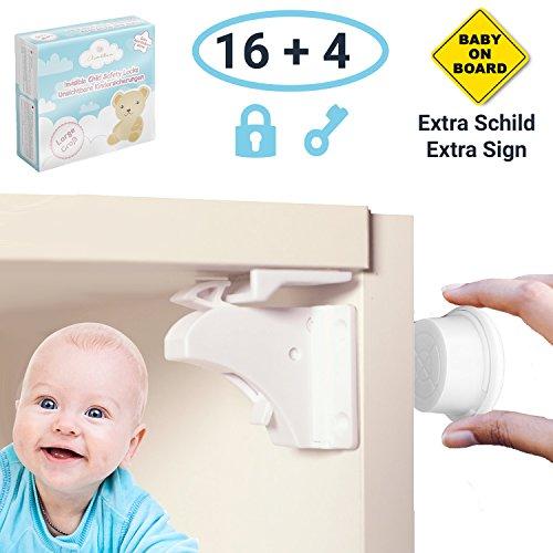 Kindersicherung magnetschloss f/ür Schr/änke und Schubladen 8 Schl/össer und 2 Schl/üssel HomySnug Magnetische baby Lock