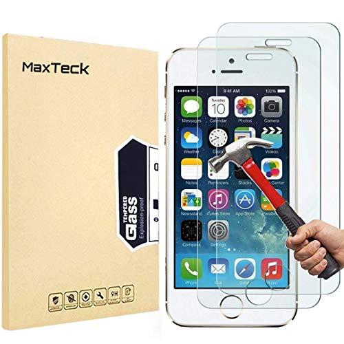[3 Pièces] Verre Trempé iPhone 5 5s SE, MaxTeck Film Protection en Verre trempé écran Protecteur Vitre- ANTI RAYURES - SANS BULLES D'AIR -Ultra Résistant Dureté 9H pour iPhone 5 5s SE - Compatible 3D Touch