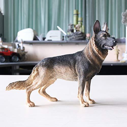 KOONNG-Decorations Deko Skulpturen Statue Figur Deutscher Schäferhund Modell Demu Desktop Ornamente Schwarz Zurück Simulation Hund Autozubehör, Deutscher Schäferhund (Station - Wolf Cyan) -